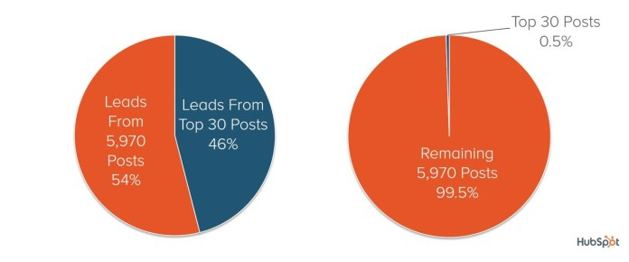 46% of all HubSpot's blog leads came from 0.5% of the content