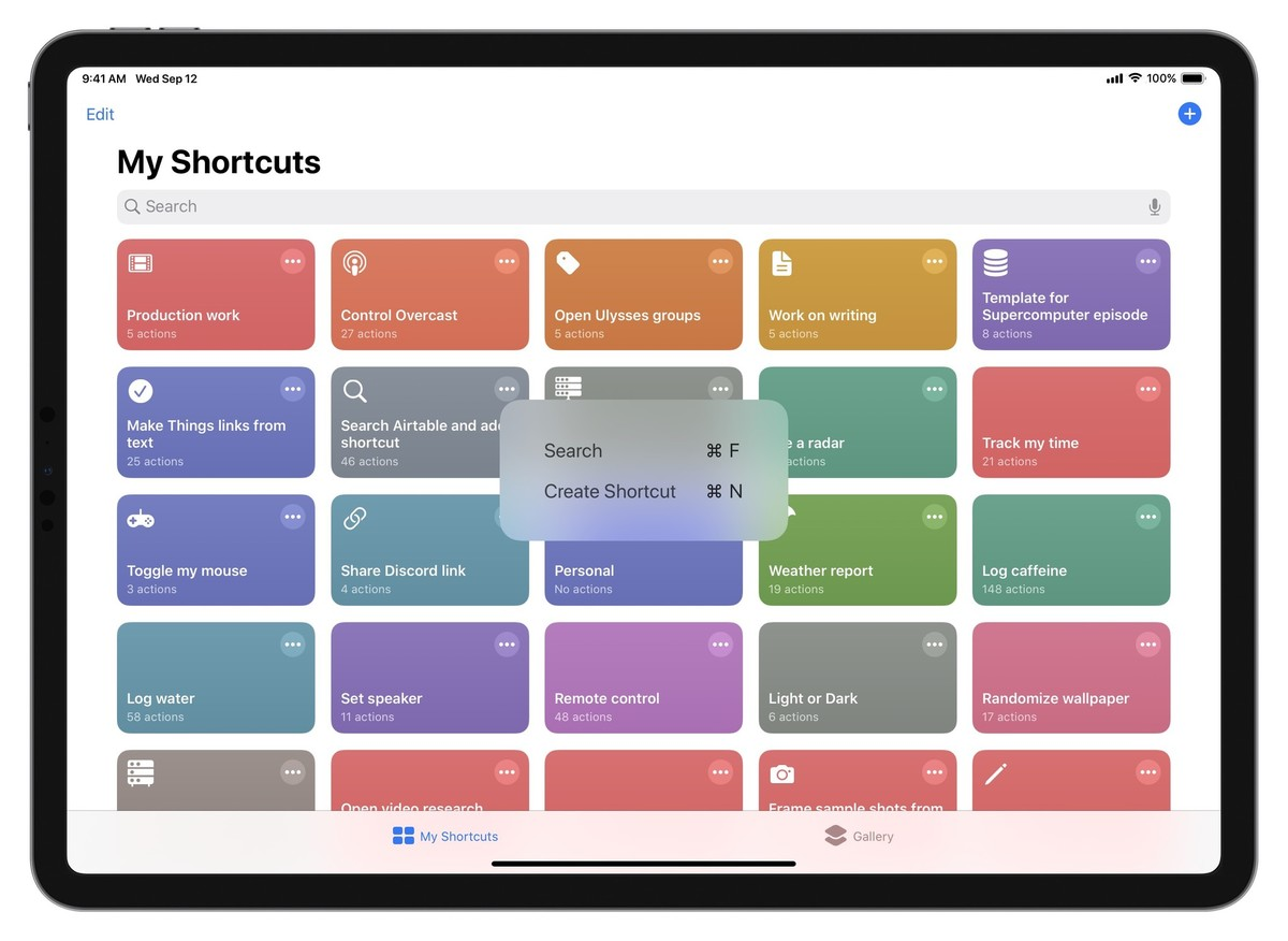 Screenshot of the Shortcuts app showing the two keyboard shortcuts from the My Shortcuts view – Command F for Find and Command N for new.