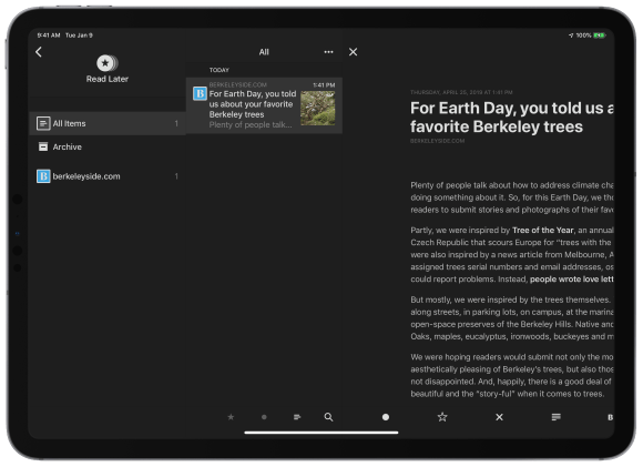 Read Later is your own private read-it-later service built right into Reeder.
