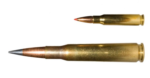 This is a .50 cal next to a .308. I dunno about you, but I think that's worth more than 20 points of damage.