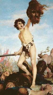 David Victorious Over Goliath Painting by Gabriel Joseph Marie Augustin Ferrier; David Victorious Over Goliath Art Print for sale