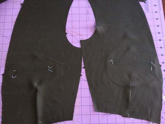 Both sides of chest lining marked for welt pockets.