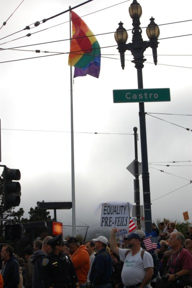 Thousands of supporters of a California judge's recent Propsition 8 decision gather in The Castro before marching down Market Street toward City Hall. (photo by Matthew Huisman)