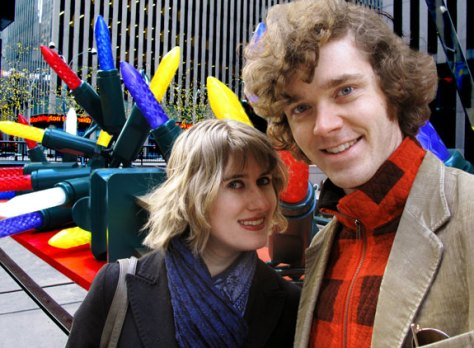 Matt Hurst and Lauren Reid pose for their holiday card from NYC in December 2010