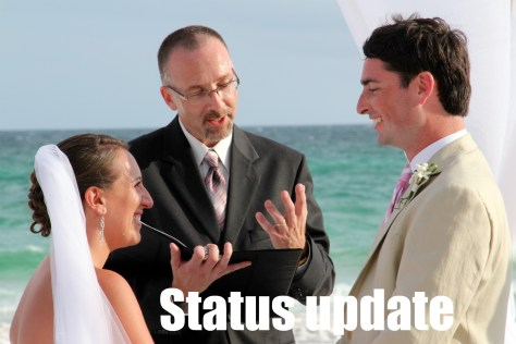 """Mark Welsh and Kristin Arena update their status from """"in a relationship"""" to Married at their wedding"""