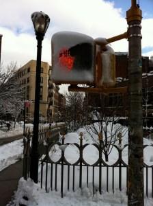 Snow crossing sign