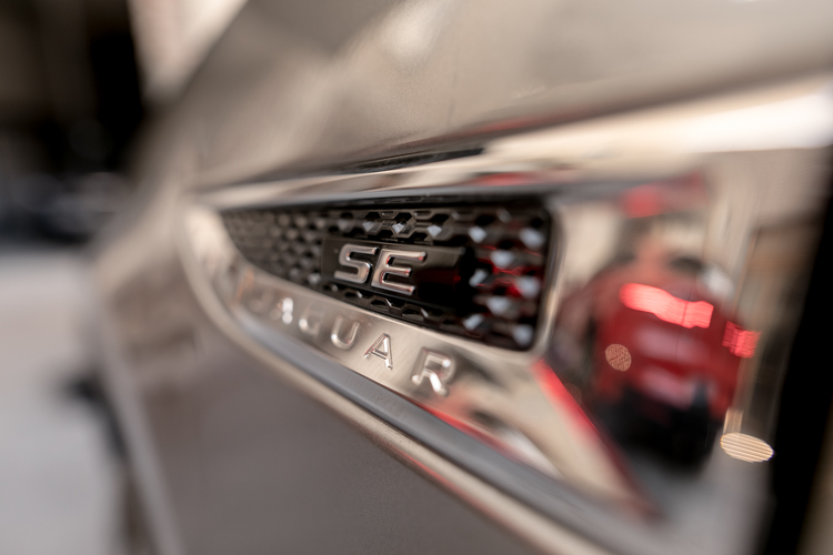 close-up of a grey Jaguar E-Pace