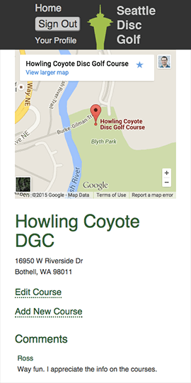 Seattle Disc Golf - Mobile Course Page
