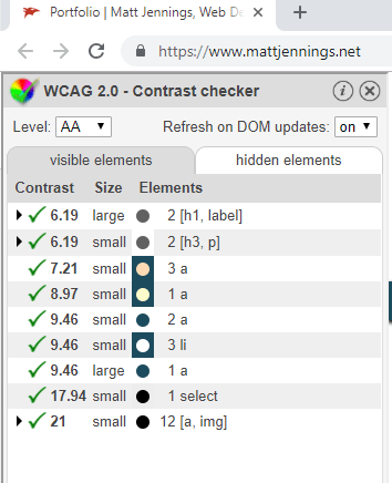 WCAG 2.0 Contrast checker plugin panel