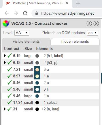 WCAG 2.0 Contrast checker plugin panel