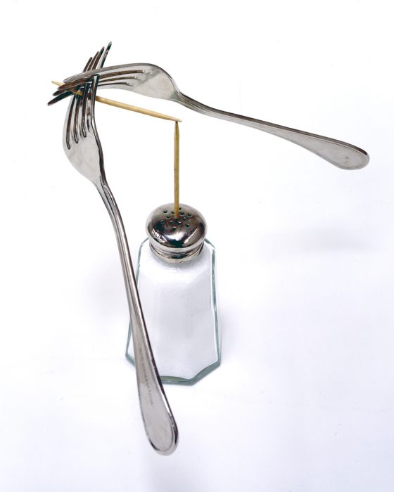Parlor Trick, 2005 Bronze, glass and salt 7 x 9 x 9 inches