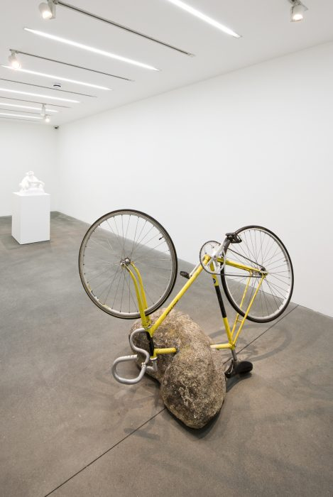 Stone with Bicycle, 2013 Granite stone and Raleigh bicycle 43 x 30.5 x 65 inches