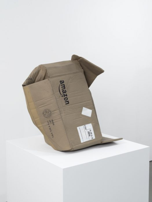 Untitled (Amazon Box), 2016 Carved wood with paint 23 x 23 x 17 inches