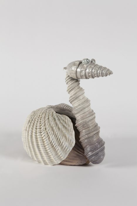 Shell Swan, 2018 Painted bronze 17.75 x 10.38 x 17.5 inches