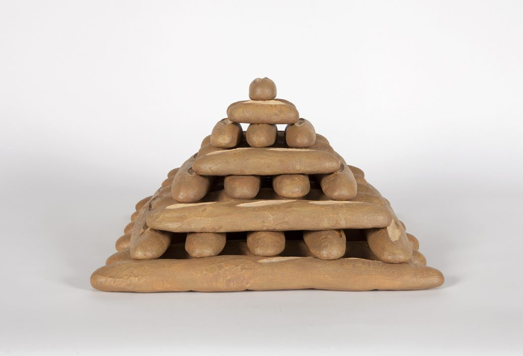 Baguette Pyramid, 2018 Carved wood with paint 26 x 25.25 x 5 inches