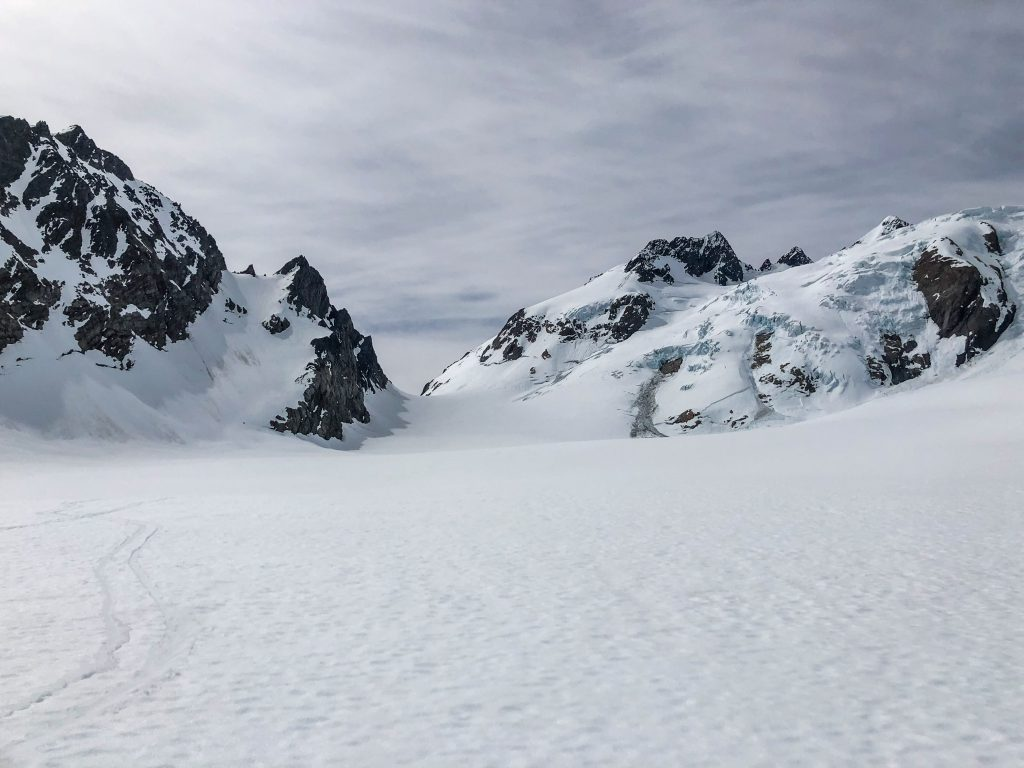 Looking back at our ski tracks on the Blue glacier, toward glacier pass.