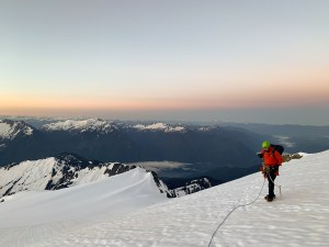 On the route. Baker lake behind me. Alpine sunrises are pretty great. PC Anna Hurst
