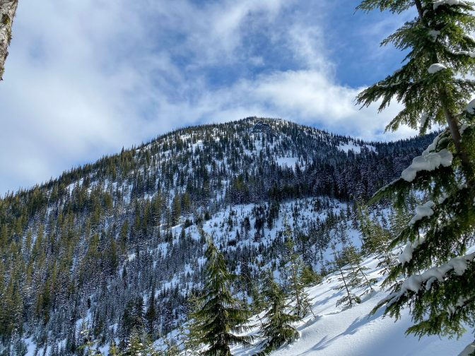 Arrowhead's skiable faces. We kept close to the ridge line on the right side of the photo.