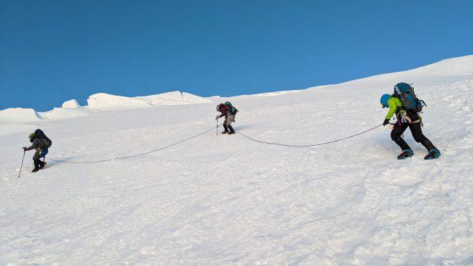 Looking for a safe crevasse crossing. pc: Amanda Helfer