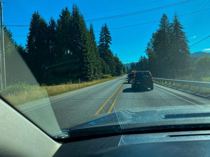 Typical mountain loop highway ... traffic getting to the trailhead.