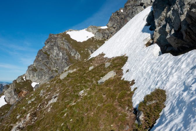 Beginning of the scramble. The route goes below that snow field ahead.