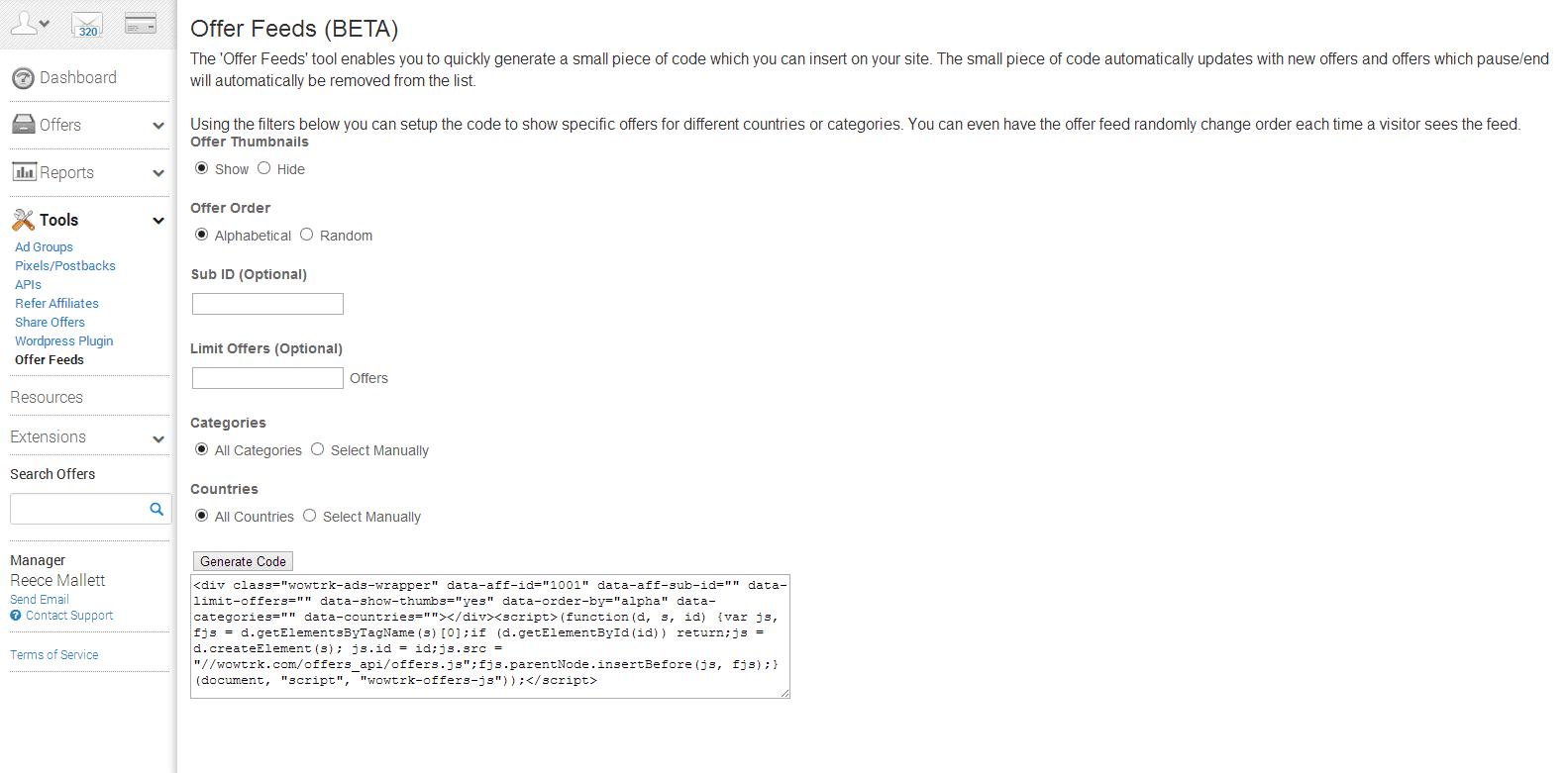 Screenshot of the WOW TRK Offer Feeds tool