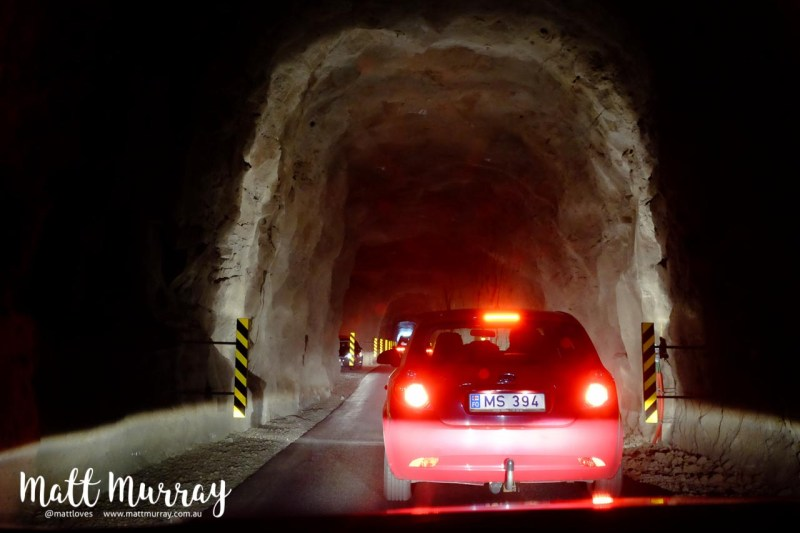 Single lane tunnel on the island of Kalsoy