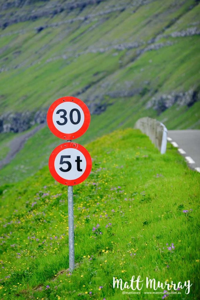 Sign showing a 30km/h zone near Elduvik, Faroe Islands