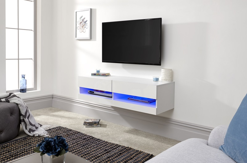 galicia 120cm wall tv unit with led