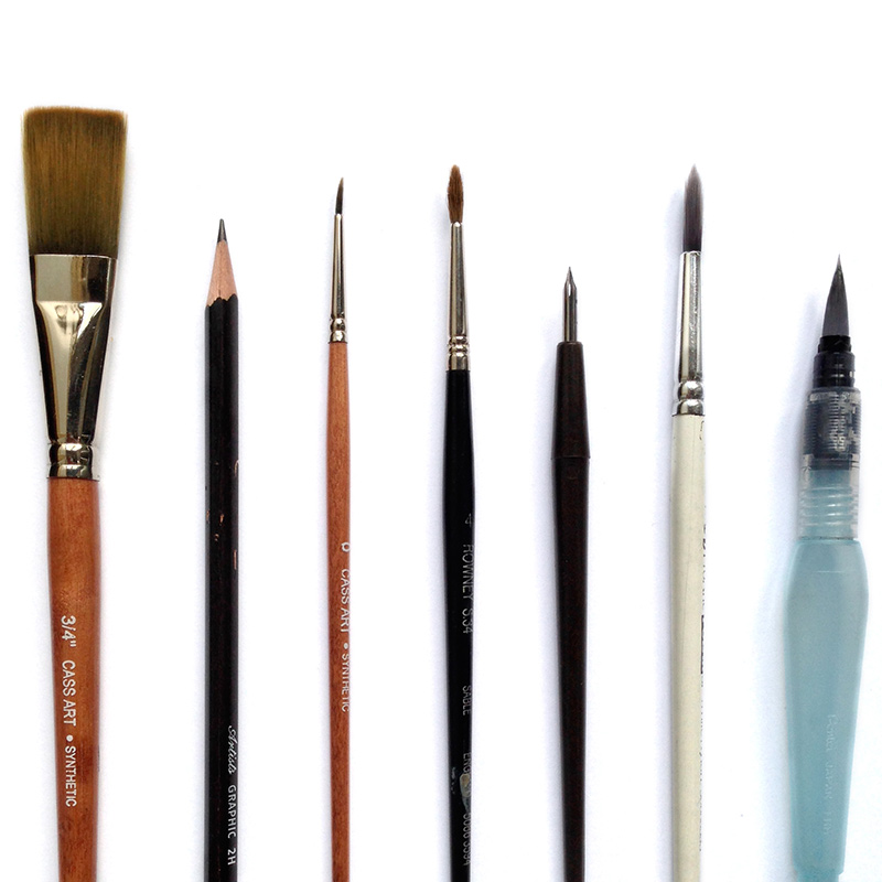 Brushes, pencils and pens used for making a fashion illustration with ink