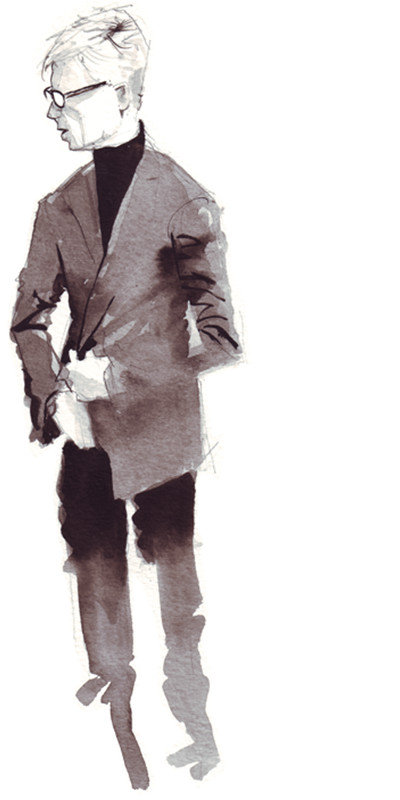 black & white fashion illustration of Mauro Krieger by Matt Richards