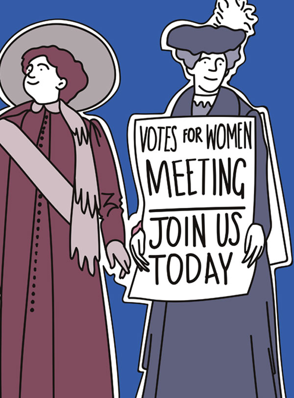 A drawing of the Suffragettes by Matt Richards