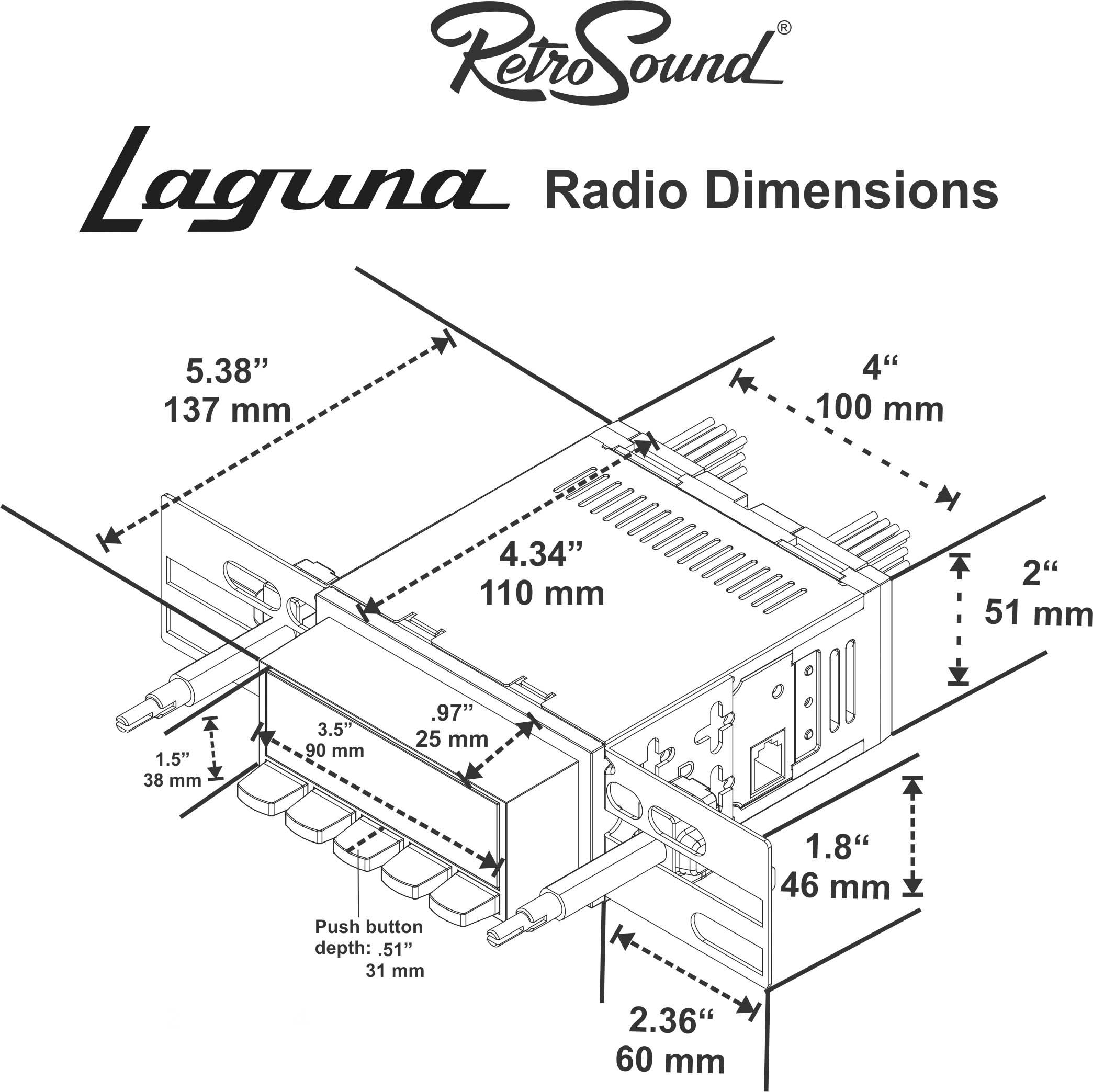 Retrosound Laguna Black Radio 68 72 Chevelle El Co Aux