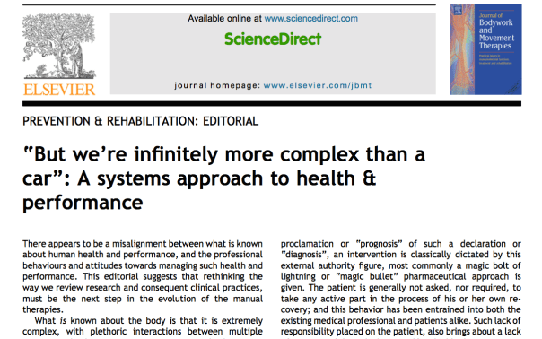 A systems approach to health and performance