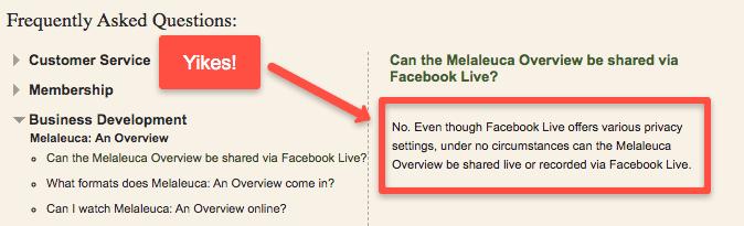 sell Melaleuca on FB live blocked
