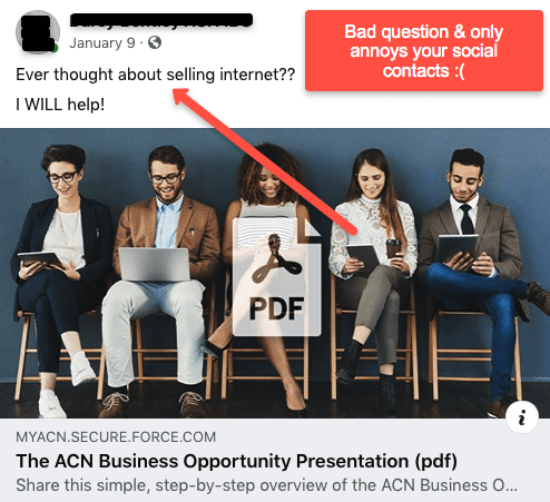 Bad way to sell ACN on Facebook