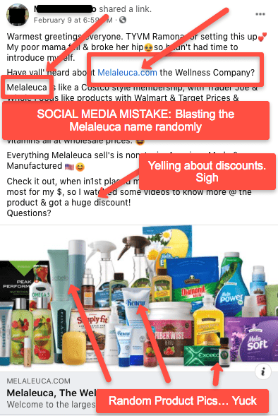 Wrong way to post about Melaleuca on social media