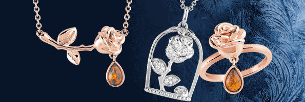 Collier La Belle Et La Bte Plaqu Or Rose Ambre Disney