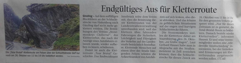 Zeitungsartikel in der Tiroler Tageszeitung