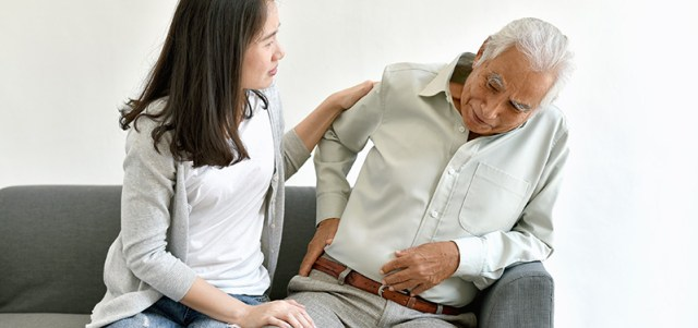 Elder gentleman showing signs of back pain. how much cbd oil to take for back pain?