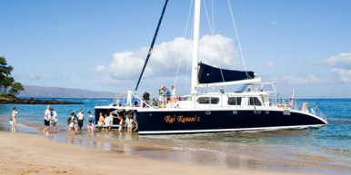 Sailing from in front of the Makena Beach & Golf Resort