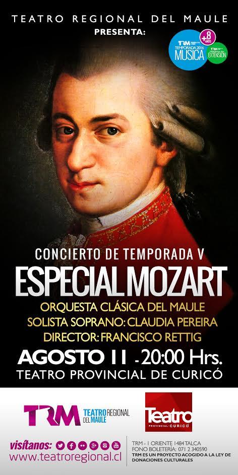 Entrada liberada a gran Concierto Especial Mozart en el Teatro Curicó