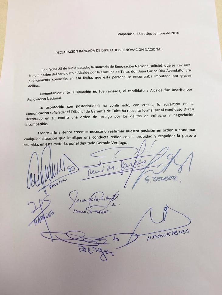 Diputados RN piden revisar candidatura de Juan Carlos Díaz formalizado por cohecho