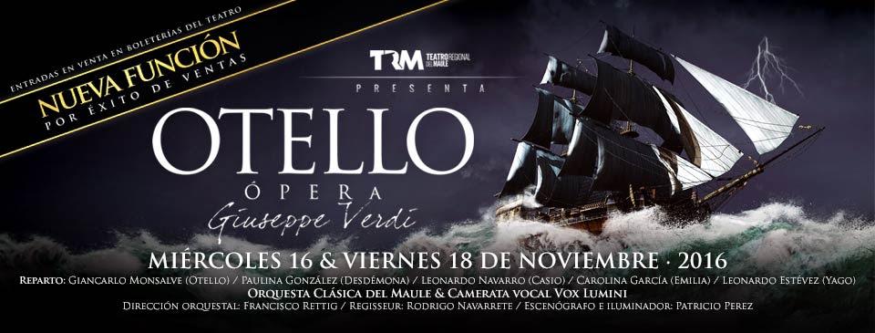 Por éxito de ventas TRM anuncia segundo función de Otello