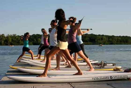 Standup Paddleboard Yoga on Lake Wingra, Madison
