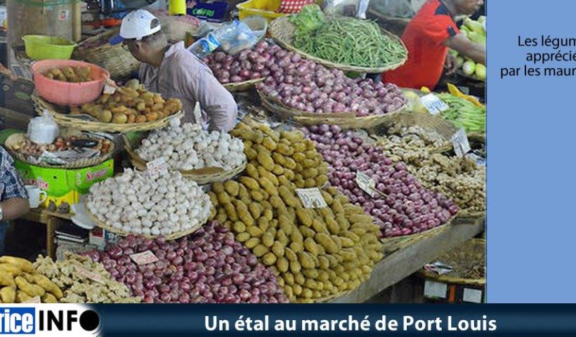 Un étal au marché de Port Louis