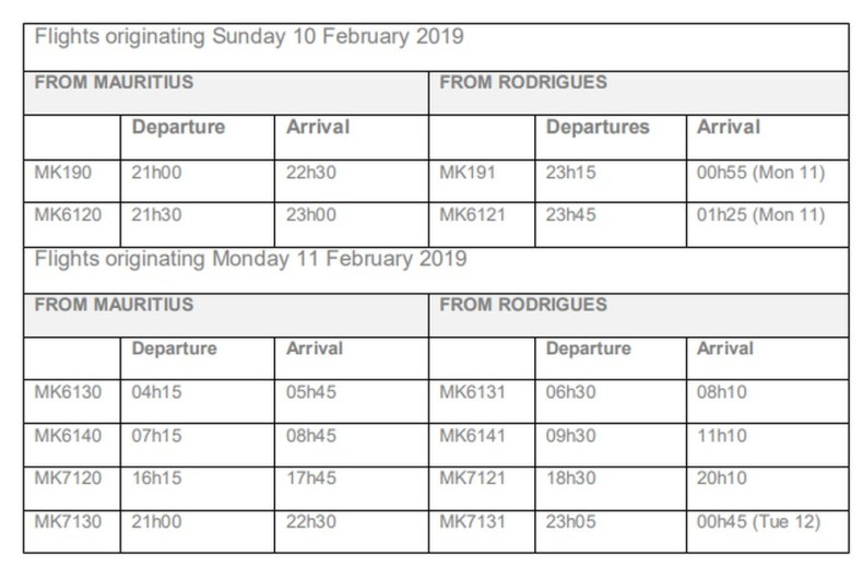 Schedule Filght for Air Mauritius