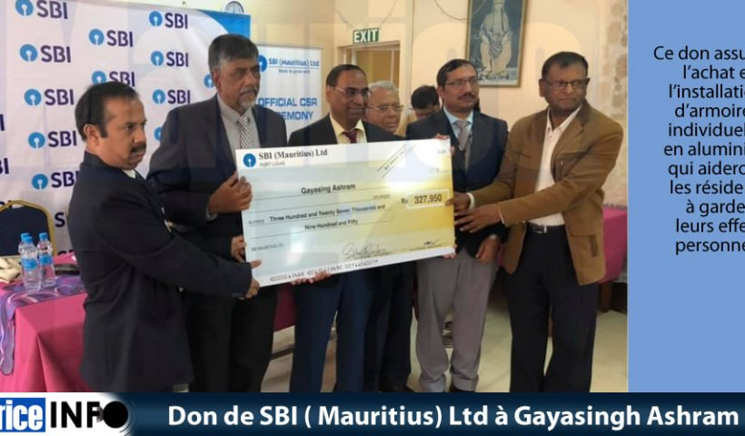 Don de SBI ( Mauritius) Ltd à Gayasingh Ashram