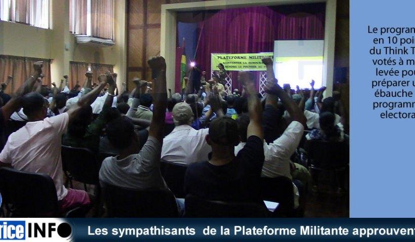 Les sympathisants de la Plateforme Militante approuvent