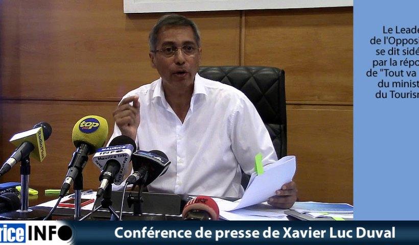 Conférence de presse de Xavier Luc Duval
